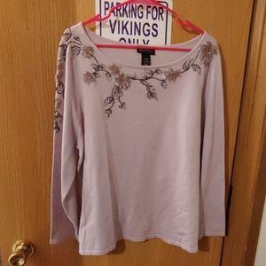2/50 Nwot Lane Bryant beaded sweater lilac 1X